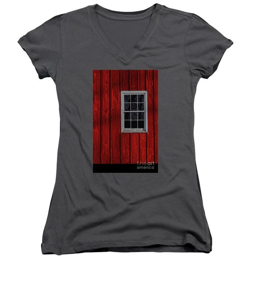 Women's V-Neck T-Shirt (Junior Cut) featuring the photograph Barn Window by Debra Fedchin