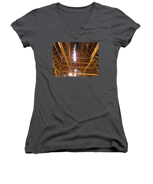 Women's V-Neck T-Shirt (Junior Cut) featuring the photograph Barn With A Skylight by Nick Kirby