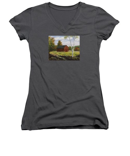 Barn With Lone Birch Women's V-Neck T-Shirt (Junior Cut) by Alan Mager