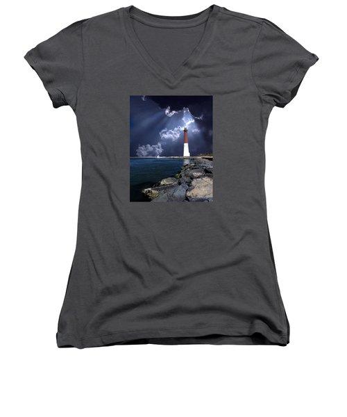 Barnegat Inlet Lighthouse Nj Women's V-Neck T-Shirt (Junior Cut) by Skip Willits