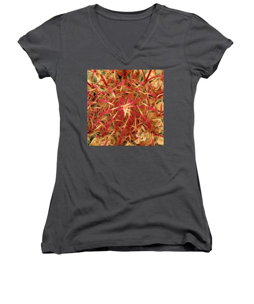 Barrel Cactus Women's V-Neck T-Shirt (Junior Cut) by Laurel Powell