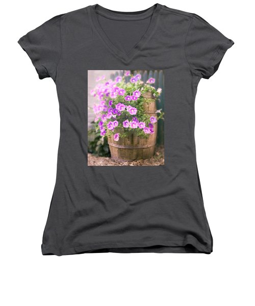 Barrel Of Flowers - Floral Arrangements Women's V-Neck