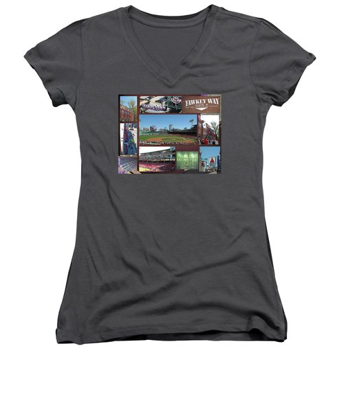Women's V-Neck T-Shirt (Junior Cut) featuring the photograph Baseball Collage by Barbara McDevitt
