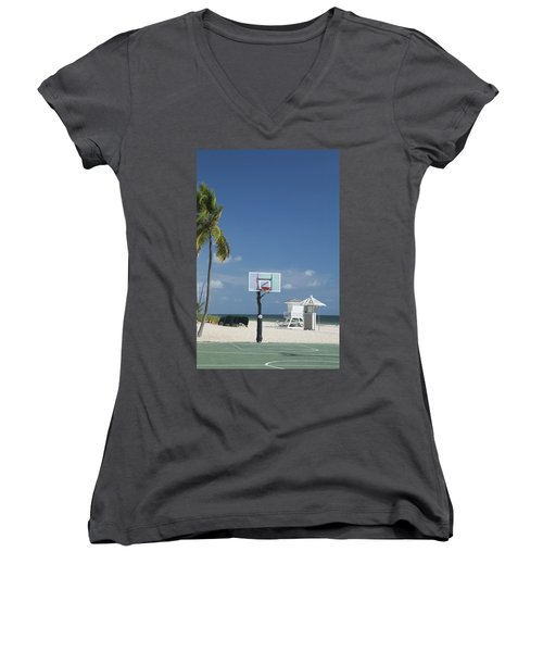 Basketball Goal On The Beach Women's V-Neck (Athletic Fit)