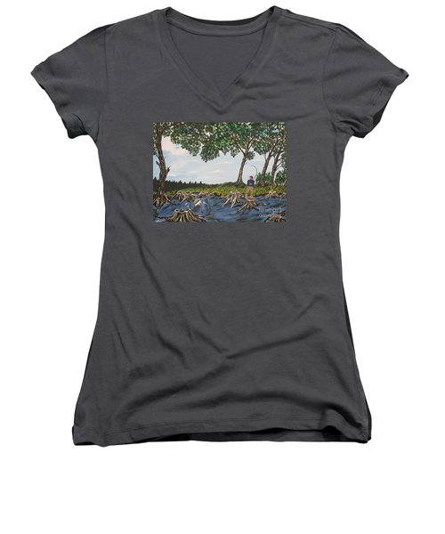 Bass Fishing In The Stumps Women's V-Neck T-Shirt (Junior Cut) by Jeffrey Koss