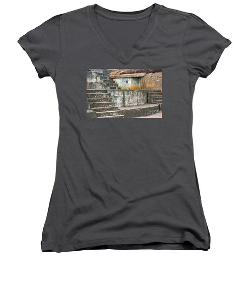 Women's V-Neck T-Shirt (Junior Cut) featuring the photograph Battery Chamberlin by Kate Brown