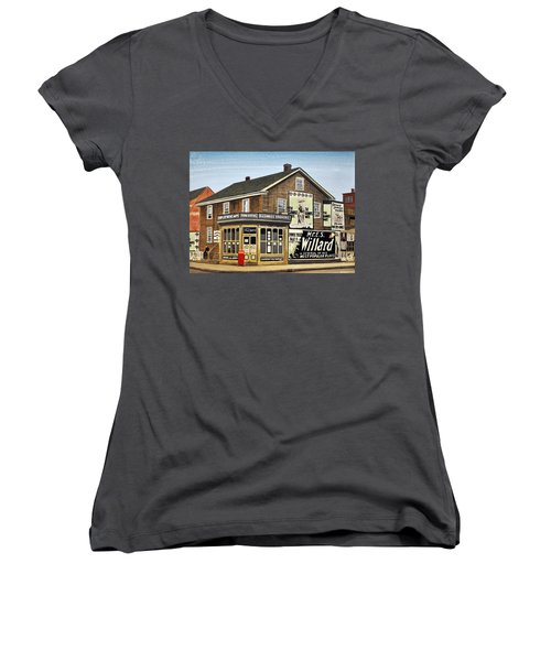Women's V-Neck T-Shirt (Junior Cut) featuring the painting Bay And Adelaide Streets 1910 by Kenneth M  Kirsch