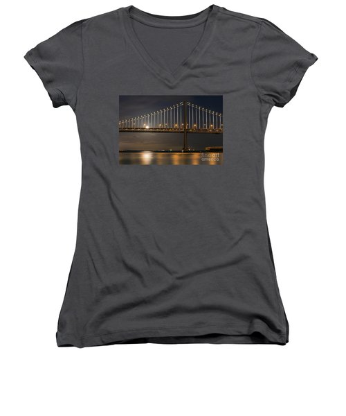 Bay Bridge Moon Rising Women's V-Neck (Athletic Fit)