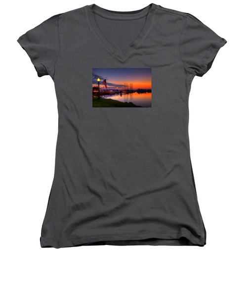 Bayfield Wisconsin Fire In The Sky Over The Harbor Women's V-Neck