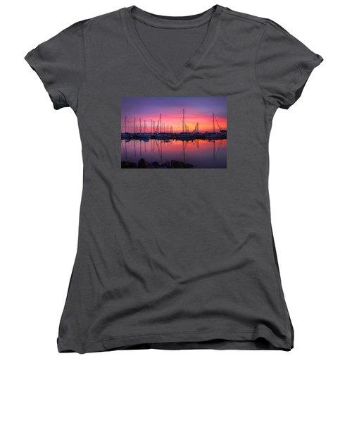Bayfield Wisconsin Magical Morning Sunrise Women's V-Neck