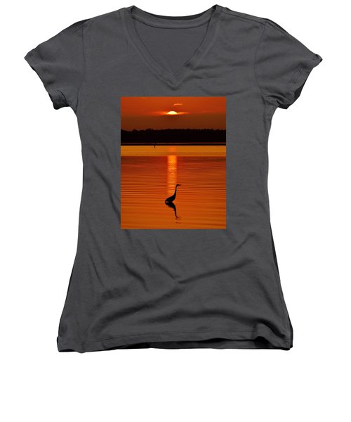 Bayside Ripples - A Heron Takes An Evening Stroll As The Sun Sets Behind The Clouds On The Bay Women's V-Neck (Athletic Fit)