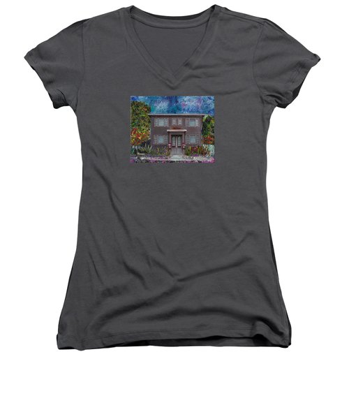 Women's V-Neck T-Shirt (Junior Cut) featuring the mixed media Alameda Bayview 1926 - Colonial Revival by Linda Weinstock