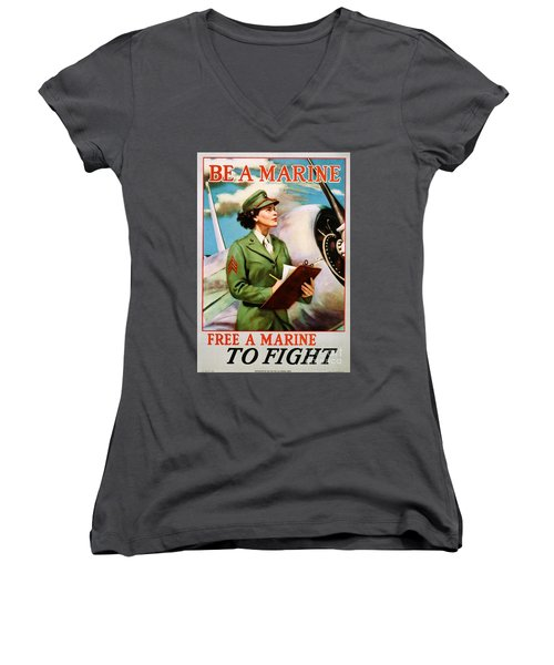 Be A Marine - Free A Marine To Fight Women's V-Neck