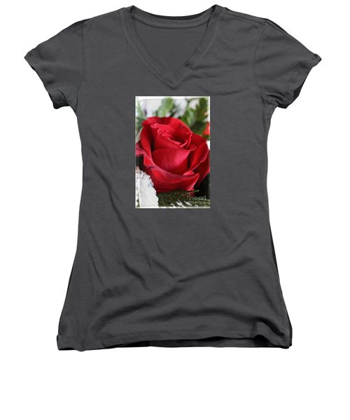Be Inspired With Flowers And Art Women's V-Neck T-Shirt (Junior Cut) by Ella Kaye Dickey