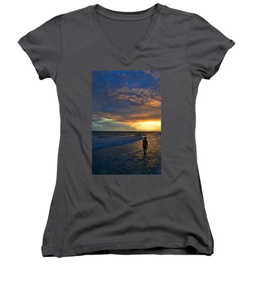 Be Wonderful... Because You Are Women's V-Neck T-Shirt (Junior Cut) by Melanie Moraga