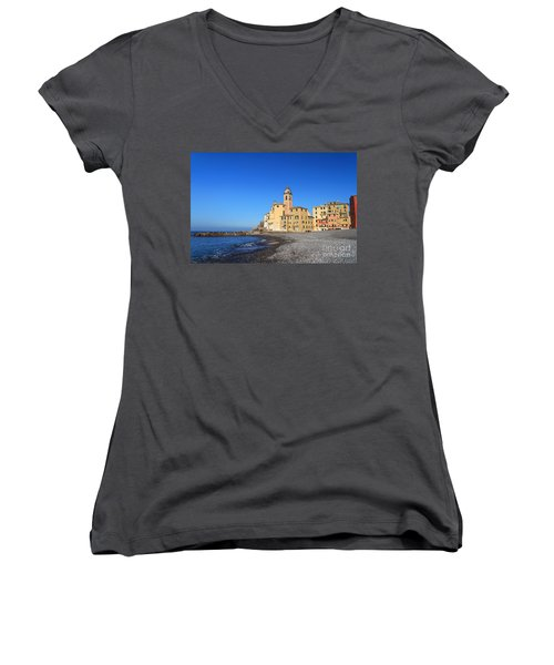 Women's V-Neck T-Shirt (Junior Cut) featuring the photograph beach and church in Camogli by Antonio Scarpi