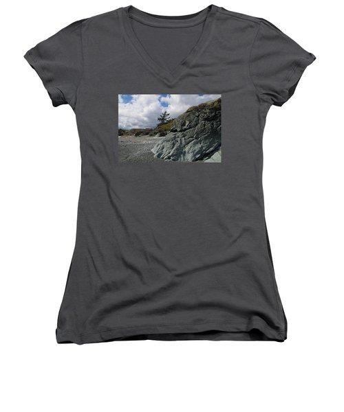 Beach At Fort Rodd Hill Women's V-Neck T-Shirt