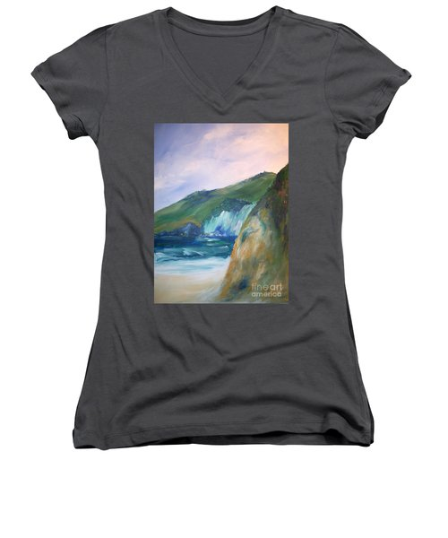 Women's V-Neck T-Shirt (Junior Cut) featuring the painting Beach California by Eric  Schiabor