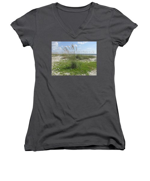 Beach Flowers And Oats 2 Women's V-Neck T-Shirt (Junior Cut)