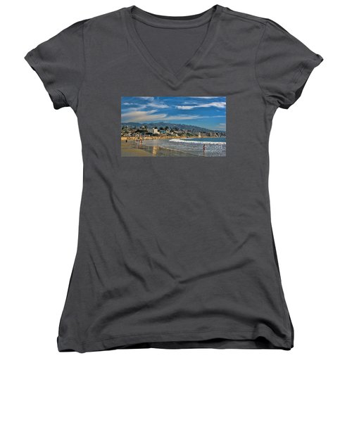 Women's V-Neck T-Shirt (Junior Cut) featuring the photograph Beach Fun by Tammy Espino