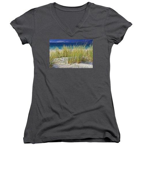 Women's V-Neck T-Shirt (Junior Cut) featuring the photograph Beach Gras by Juergen Klust