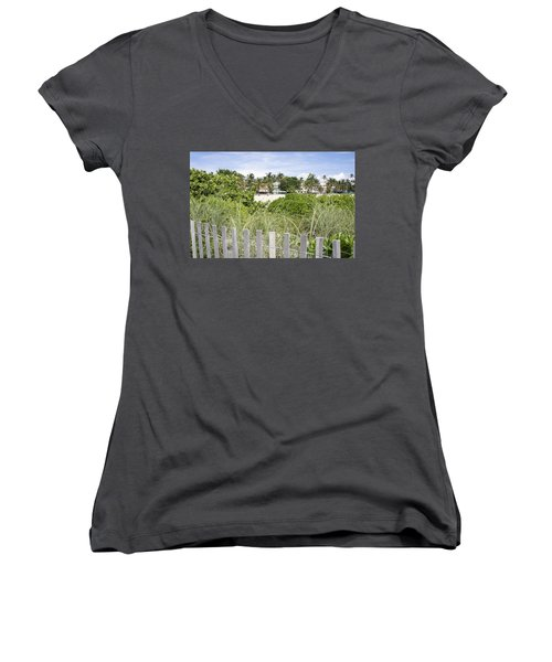 Women's V-Neck T-Shirt (Junior Cut) featuring the photograph Beach Path by Laurie Perry
