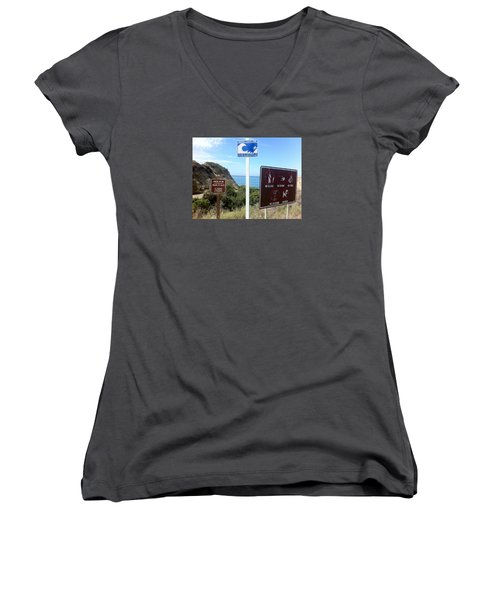 Beach Signs San Clemente Women's V-Neck (Athletic Fit)