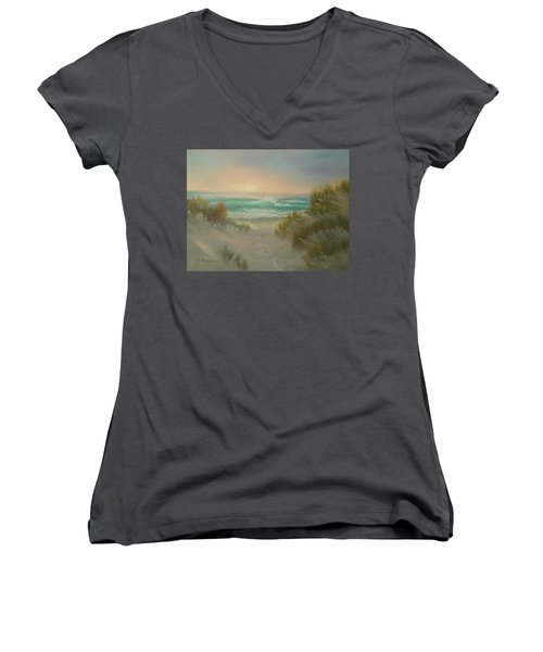 Cape Cod Beach Sunset Dunes Print  Women's V-Neck