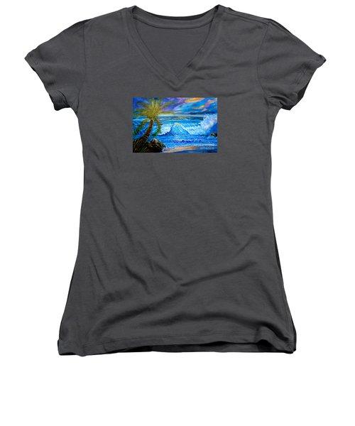 Beach Sunset In Hawaii Women's V-Neck T-Shirt