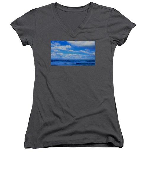 Beach Through Artificial Eyes Women's V-Neck T-Shirt