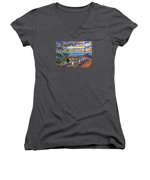 Beacons In The Moonlight Women's V-Neck T-Shirt (Junior Cut) by Retta Stephenson