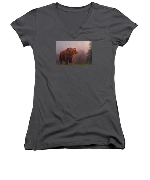 Women's V-Neck T-Shirt (Junior Cut) featuring the painting Bear In The Mist by Donna Tucker