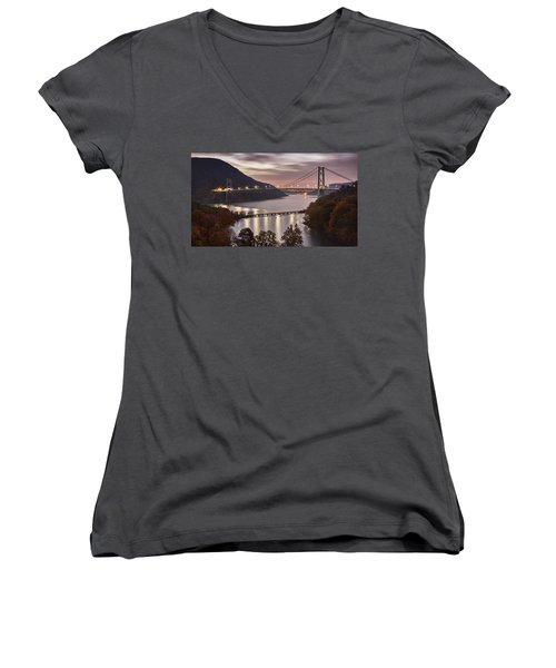 Bear Mountain In The Fall Women's V-Neck (Athletic Fit)