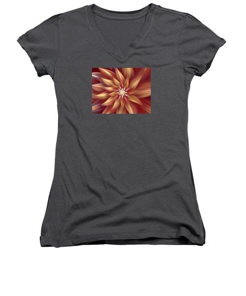 Beautiful Dahlia Abstract Women's V-Neck
