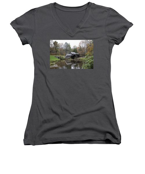 Beautiful Historical Mabry Mill Women's V-Neck T-Shirt (Junior Cut) by Kathy Clark