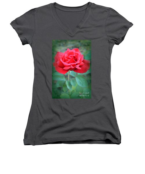 Beautiful Morning Rose  Women's V-Neck (Athletic Fit)