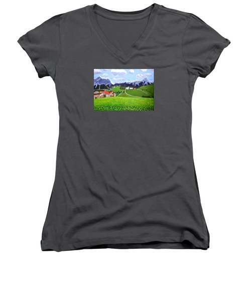 Women's V-Neck T-Shirt (Junior Cut) featuring the painting Beautiful Norway by Magdalena Frohnsdorff