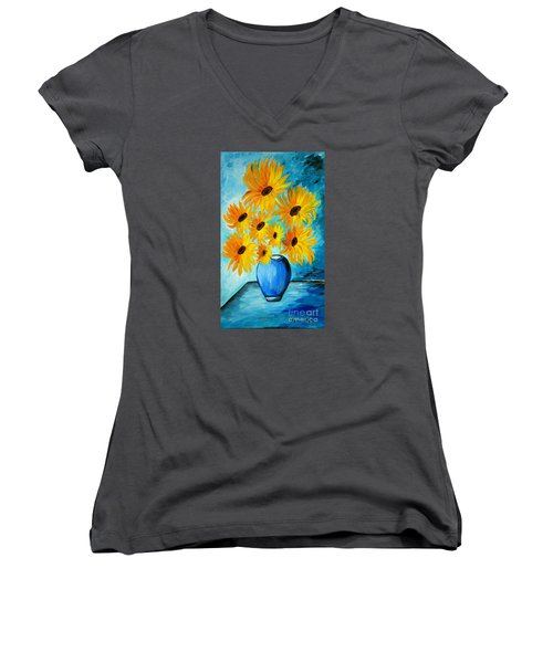 Beautiful Sunflowers In Blue Vase Women's V-Neck T-Shirt (Junior Cut) by Ramona Matei