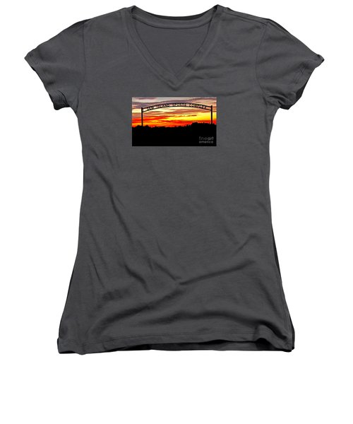 Beautiful Sunset And Emmett Sport Comples Women's V-Neck T-Shirt (Junior Cut) by Robert Bales