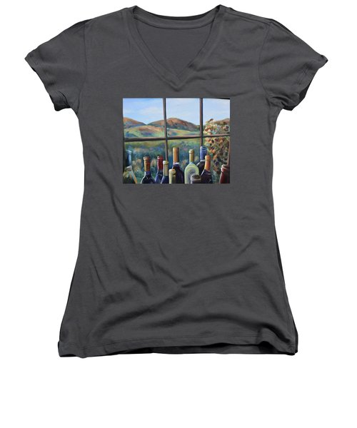 Women's V-Neck T-Shirt (Junior Cut) featuring the painting Beautiful View by Donna Tuten