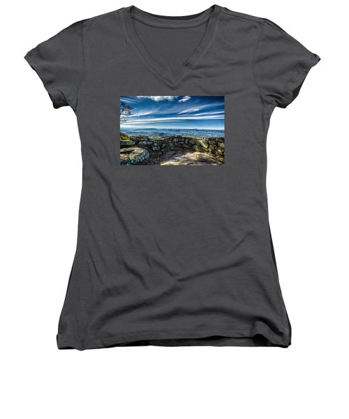 Beautiful View Of Mountains And Sky Women's V-Neck (Athletic Fit)
