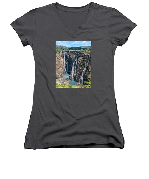 Beautiful Waterfalls In India Women's V-Neck T-Shirt