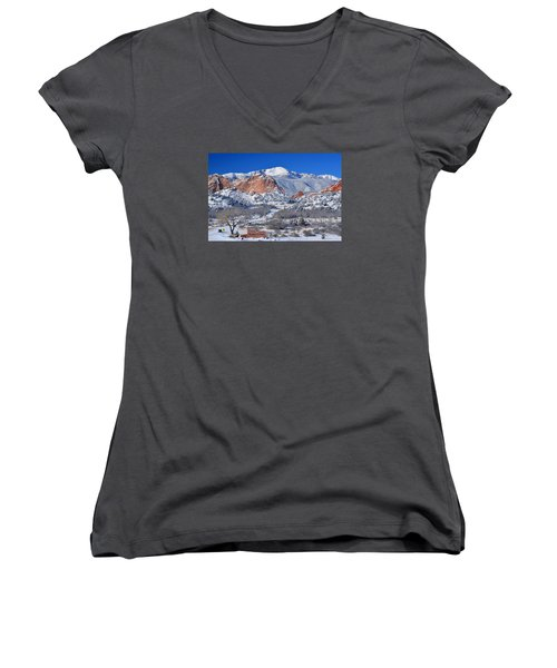 Beautiful Winter Garden Of The Gods Women's V-Neck (Athletic Fit)