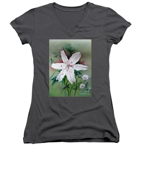 Women's V-Neck T-Shirt (Junior Cut) featuring the painting Beauty For Ashes by Hazel Holland
