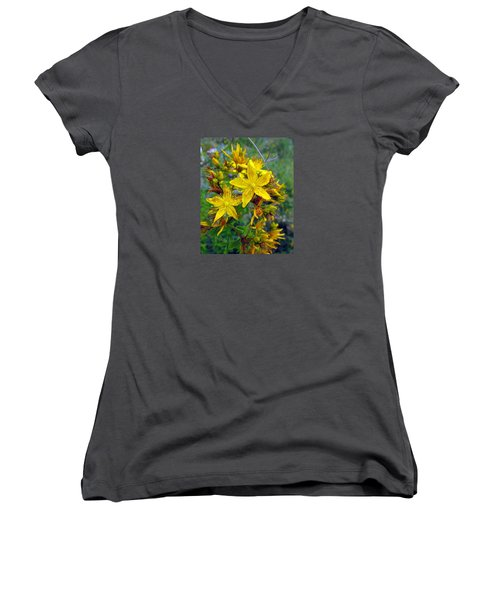 Beauty In A Weed Women's V-Neck T-Shirt (Junior Cut) by I'ina Van Lawick