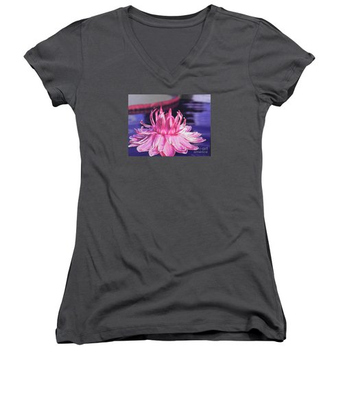 Women's V-Neck T-Shirt (Junior Cut) featuring the photograph Beauty Of Pink At The Ny Botanical Gardens by Chrisann Ellis
