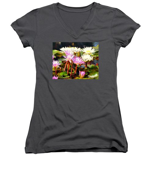 Women's V-Neck T-Shirt (Junior Cut) featuring the photograph Beauty On The Water by Marty Koch