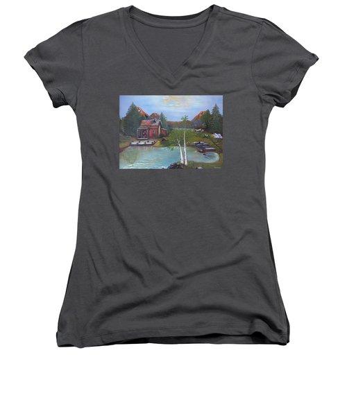 Beaver Pond - Mary Krupa Women's V-Neck T-Shirt