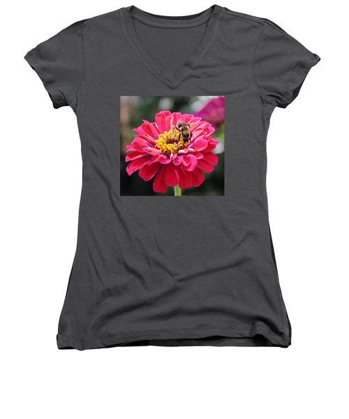 Women's V-Neck T-Shirt (Junior Cut) featuring the photograph Bee On Pink Flower by Cynthia Guinn