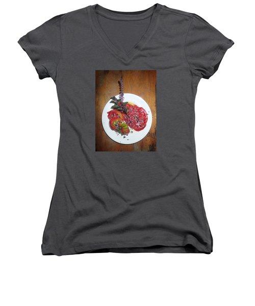Women's V-Neck T-Shirt (Junior Cut) featuring the photograph Beefsteak by Robert Nickologianis